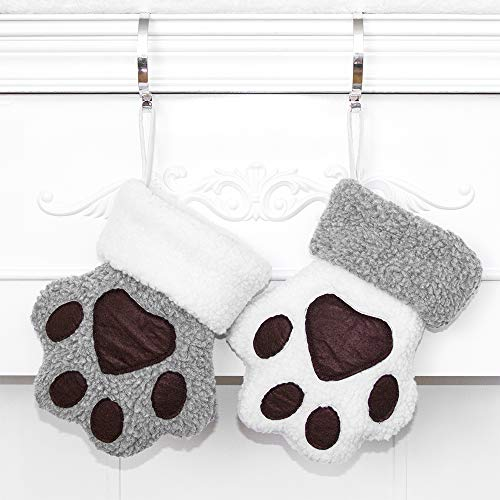 Beyond Your Thoughts 2020 White Dog Christmas Stockings Pet Paw Pattern Stockings Ornament Fireplace Hanging Stockings for Pet and Christmas Decoration