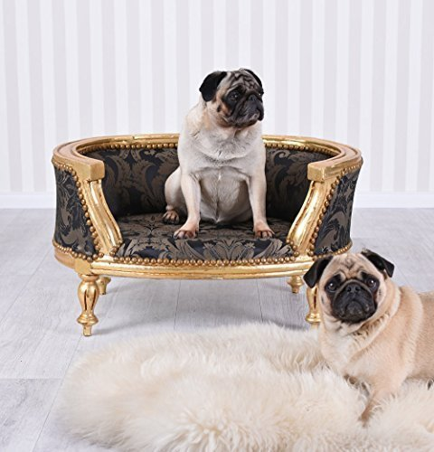 Barock Hundebett Gold Schwarz Hundesofa Mops Sofa Hundekorb Antik Stil Palazzo Exklusiv