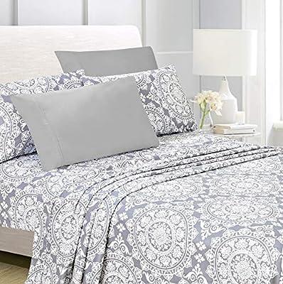 "American Home Collection 6 Piece Bed Sheet Set Super Soft Brushed Microfiber - 14"" Deep Pocket - Wrinkle Resistant - Hypoallergenic (King, Grey Geometric)"