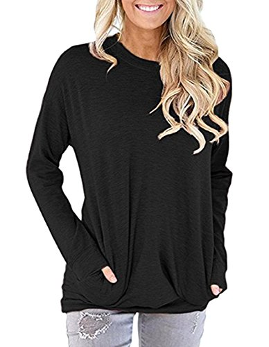 Miskely Women's Long Sleeve Round Neck Casual Blouse with Pocket Solid Color Sweatshirt Pullover Loose Tunic Tops T Shirt (L, Black)