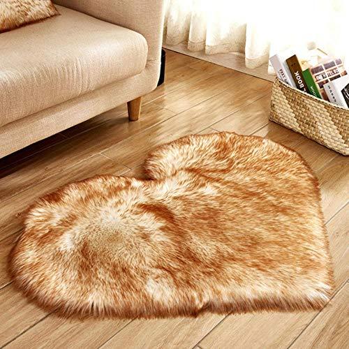 LIMMC Konstgjord ull fårskinn bebis rum sovrum mjuk matta långt hårig matta röd rosa lurvig matta kärlek hjärtformade mattor #ss, B, Kina