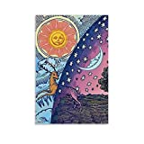 WODETA Spiritual Sun and Moon Poster Decorative Painting Canvas Wall Art Living Room Posters Bedroom Painting 16x24inch(40x60cm)