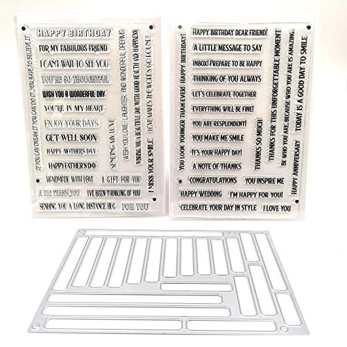 Alinacutle 2pc Stripe Clear Stamps with 1pc Tag Die, Sentiments Stamp Banner,Paper Craft Metal Die-Cuts,Scrapbooking Cutting