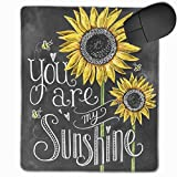 Mouse Pad with Design You are My Sunshine Bee Sunflower Print for Computer Office Gaming,11.8x9.8x0.09 Inch