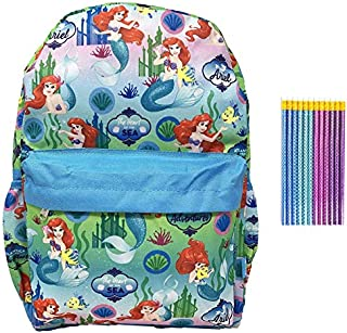 Ariel the Little Mermaid 16 inch Backpack with Mermaid Pencils