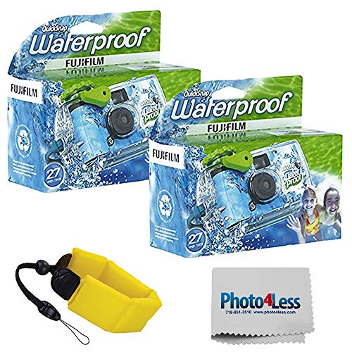 Fujifilm Quick Snap Waterproof 35mm Single Use Camera 2 Pack | Floating Foam Strap (Yellow)