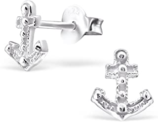 Small Anchor Studs Girls Earrings Sterling Silver 925 (E21751)