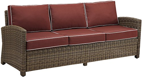 Crosley Furniture KO70049WB-SG Bradenton Outdoor Wicker Sofa, Brown with Sangria Cushions