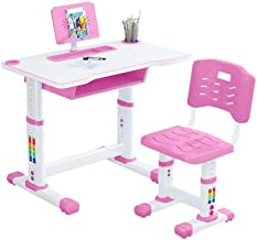 Kids Desk and Chair Set, Childs Home Student Sturdy Table, Adjustable Desktop Height Children Study Table with Tabletop Dr...