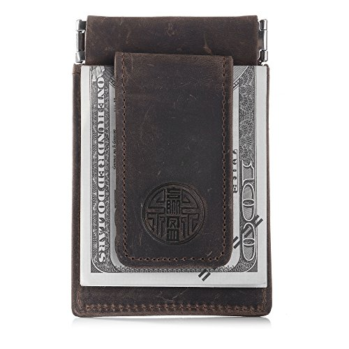 Win&Income Cuir Crazy Horse Money Clip...