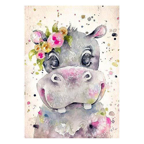 HEYB Kit de pintura de diamante 5D para adultos y niños con diamantes bordados, manualidades, decoración de pared del hogar, hipopótamo