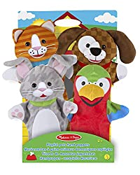 ENTERTAINING PUPPET SET: The Melissa & Doug Playful Pets Hand Puppets set contains 4 soft hand puppets, including a rabbit, parrot, kitten, and puppy. SOFT-STUFFED PLUSH MATERIAL: Our fuzzy hand-puppet set is made from soft-stuffed plush material tha...