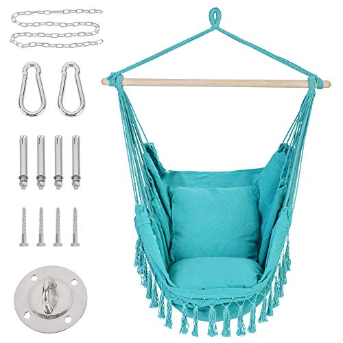 Patio Watcher Hammock Chair Hanging Rope Swing Seat with 2 Cushions and Hardware Kits, Perfect for Indoor, Outdoor, Home, Bedroom, Patio, Yard,Deck, Garden, Blue