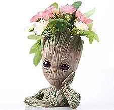 Flowerpot Treeman Baby Groot Succulent Planter Cute Green Plants Flower Pot with Hole Pen Holder (Chin up)