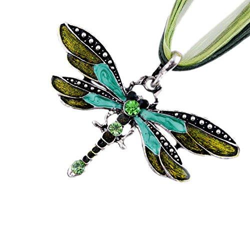 AKOAK Fashion Creative Bohemian Jewelry Ethnic Multi-layer Chain Colorful Enamel Dragonfly Pendant Necklace?Green?