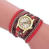 Bohème-Uhren-Armband, Wickelarmbanduhr, gewebte Schlangen-Quarzuhr, Lederkette, Quarz, Damen, mehrschichtiges Armband, Armbanduhren, Relojes (Schlangenuhr rot)