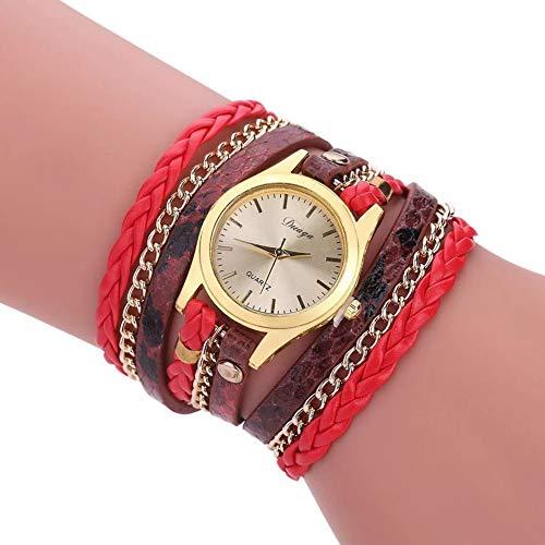 Bohemian Watch Bracelet, Winding Bracelet Watch, Woven Snake Quartz Watch, Leather Chain Quartz Womens Multilayer Bracelet Wrist Watches Relojes (Snake Watch Red)