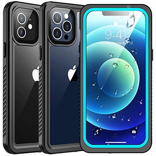SPIDERCASE wasserdichte Hülle Kompatibel mit iPhone 12 / Kompatibel mit iPhone 12 Pro, mit Eingebautem Bildschirmschutz, Staubdicht, Stoßfest, 2020 (Blaugrün)