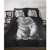 Urban Unique White Tiger Printed Duvet Cover Bedding Set (Queen Bed) (Black/White)