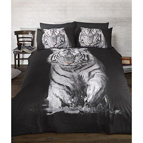 Textiles Universels Parure de lit à Motif Tigre (Lit Double) (Noir/Blanc)