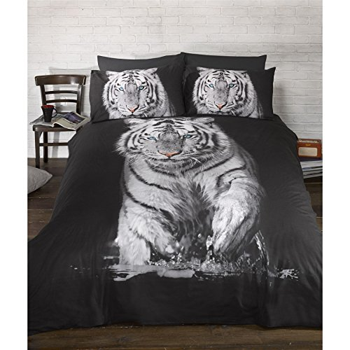 Urban Unique White Tiger Printed Duvet Cover Bedding Set (Double Bed) (Black/White)