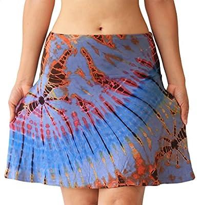 Design By Jingle Women's Short Tie-Dye Spandex Mini Skirt or Strapless Dress