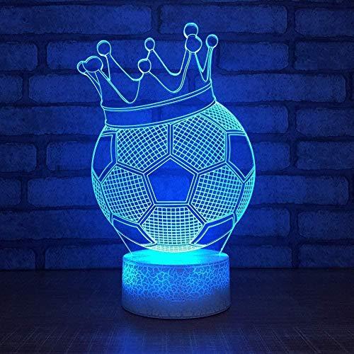 Led Night Lightnight Lámpara 3D Creative Crown Fútbol Control remoto Niños Toboganes de noche Regalo de Navidad