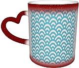 Waves Magic Taza que cambia de color sensible al calor en el cielo Tazas de café artísticas divertidas Regalos personalizados para amantes de la familia Amigos-Rojo