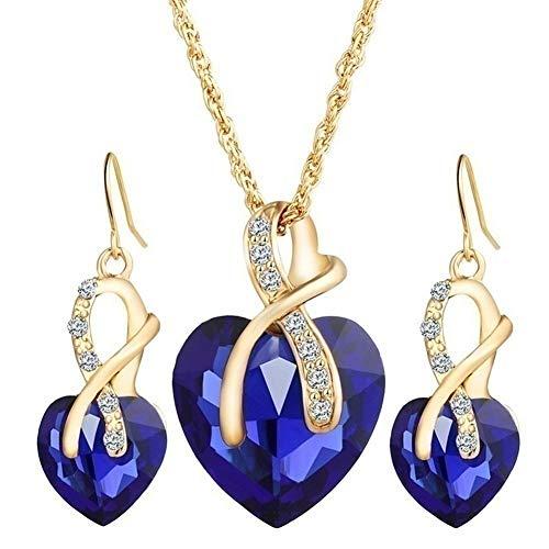 necklace sieradenset vrouwen liefde hart diamant ketting oorbellen bruiloft geschenken (groen), kleur: groen