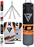 RDX Sac de Frappe Rempli Lourd Punching Ball MMA Muay Thai Kickboxing Arts Martiaux Boxe avec Gants Chaine Suspension Adulte Punching Bag