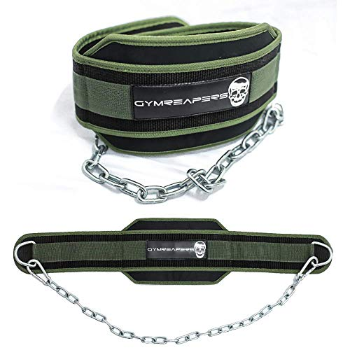 Gymreapers Dip Belt with Chain for Weightlifting, Pull Ups, Dips - Heavy Duty Steel Chain for Added Weight Training (Ranger Green)