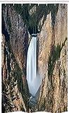 ABAKUHAUS Wyoming Tenda da Doccia Stalla, Gran Canyon di Yellowstone, Set per Il Bagno in Tessuto con Ganci, 120 cm x 180 cm, Sabbia Brown Hunter Verde