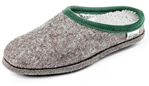 Orthopant Filzpantoffel BAITA - Hausschuhe Pantoffel Herren Damen aus feinem Wollfilz, Grau mit grüner Borte, BA-103-39