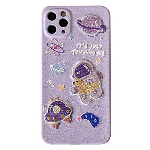 QfireQ Case Compatible con iPhone 11/12/12 Mini/12 Pro MAX Estuche para teléfono con Astronauta Exquisito Bordado Borde Recto de Silicone Protección de Lentes Case,Púrpura,12 Pro