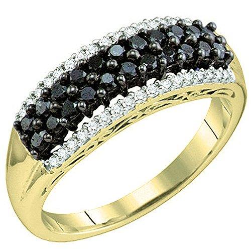 Anillo de Dazzlingrock Collection de oro de 10 quilates para mujer, 0,60 quilates, diamantes redondos blancos y negros