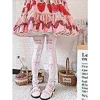 甘い償還ロリータ靴下女性の夏の秋チューブソックスベルベットプリント膝靴下ロリータ日本靴下日本スウィートガール,ピンク,ワインサイズ