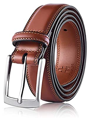 Milorde's Men Genuine Leather Belt with Single Prong Buckle, Fashion & Classic Design for Dress and Causal (Size 36 (Waist 34), Basic Brown)