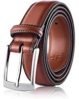 Men's Genuine Leather Dress Belt, Handmade, 100% Cow Leather, Fashion & Classic Designs for Work Business and Casual (Size 56 (Waist 54), Basic Brown)
