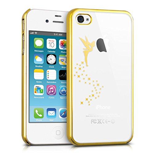 kwmobile Hülle kompatibel mit Apple iPhone 4 / 4S - Hülle Handy - Handyhülle Fee Gold Transparent