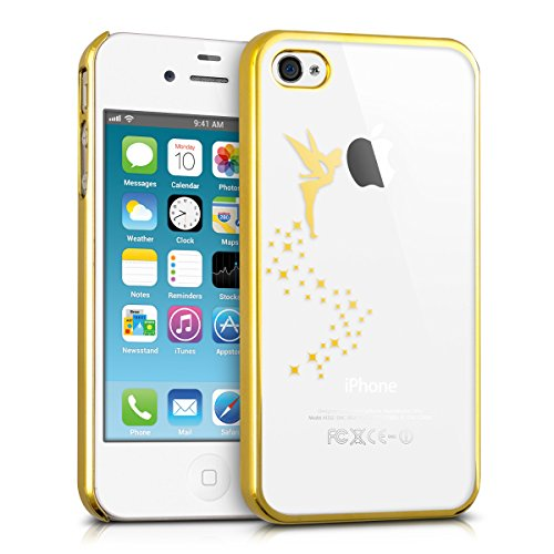 kwmobile Funda Compatible con Apple iPhone 4 / 4S - Carcasa de TPU Hada en Dorado/Transparente