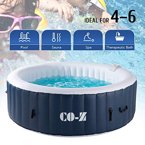 CO-Z Inflatable Hot Tub for 4-6 Person, 6.8x6.8 ft Portable Indoor Outdoor Hot Tub with 130 Bubble Jets, Above Ground Pool with Air Pump for Patio, Backyard, Garden