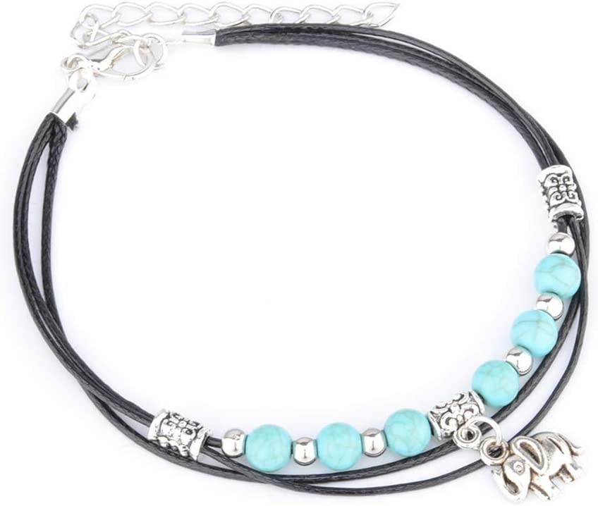 Timetries Yoga Elephant Lucky Charm Bracelet Green Agate Stone Bracelet for Women and Girls