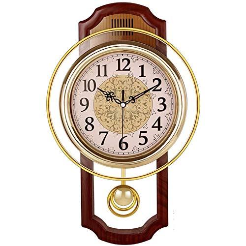 Yiyu Wanduhren Uhr Quartzuhr Lautlos Funkwanduhr Europäischen Stil Retro Mit Pendel Wohnzimmer Schlafzimmer Simple x (Color : Brass)