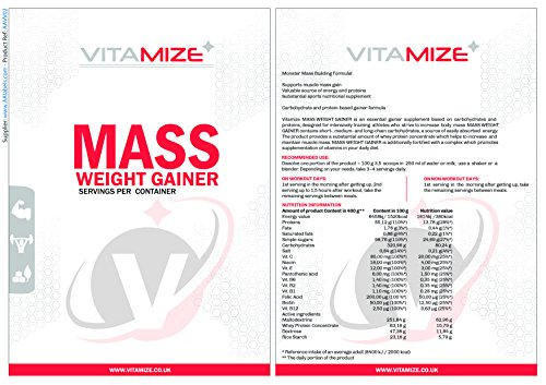 Vitamize Whey Protein Powder Weight Gainer - High Calorie Mass Muscle Weight Gain 1 kg Strawberry (Packaging may vary)