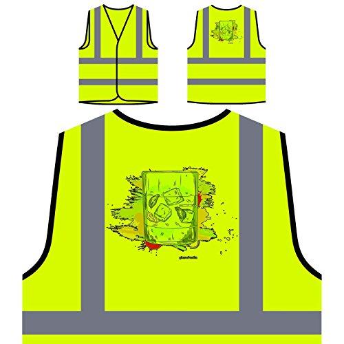 Wodka Trinken frischen Saft lustiges Geschenk Personalisierte High Visibility Gelbe Sicherheitsjacke Weste d575v