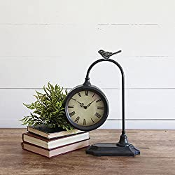Foreside Home & Garden Bird Metal Battery Operated Table Clock