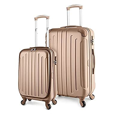 TravelCross Victoria Lightweight Hardshell Spinner Luggage (Champagne, 2-piece set (20''/28''))