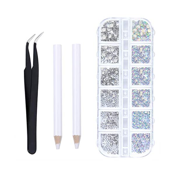 Elcoho 6 Sizes Crystals AB Nail Art Rhinestones and Clear Crystal Rhinestones with Pick Up Tweezer and Rhinestone Picker Dotting Pen, 1500 Pieces