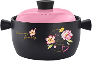 XH&XH Deep Clay Pot with Lid and Handle Heat Resistant Casserole with Ceramic Coating for Slow Cooking Brazing Bibimbap No...