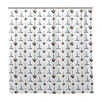 KAPANOU防水 シャワーカーテン 灯台ファンタスティックマリンプリント かわいいシャワーカーテン ユニットバス バスルーム 芸術の装飾 180cmx180cm バスフック付き 取り付け簡単